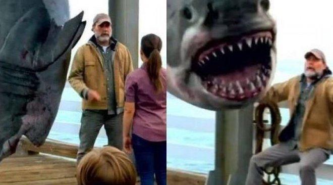 真實事件】漁夫釣魚竟釣到一隻大鯊魚,接受記者採訪時鯊魚竟吐出東西! - 88gag.com